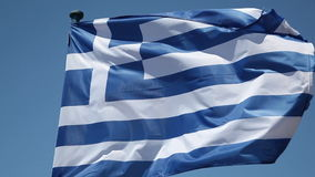 Greek Flag. Waving in Blue Sky stock video