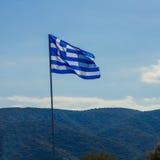 Greek Flag Waving Stock Image