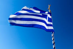 Greek flag on the wind. On Crete Royalty Free Stock Photography
