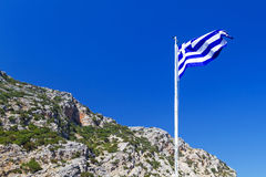 Greek flag on the wind Stock Photography