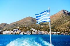 The Greek Flag on a yacht Stock Photo