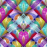 Greek floral decorative 3d seamless pattern. Vector geometric ornamental background.Colorful abstract ornament with flowers, geometry shapes, elements, stripes Stock Images