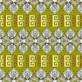 Greek floral meanders seamless border pattern. Vector light gree. N abstract repeat background. Line art tracery hand drawn flowers, striped leaves. Greek key stock illustration