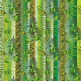 Greek floral olive branches and leaves 3d seamless pattern. Vector striped abstract background. Vertical borders. Greek key, meanders backdrop. Green geometric stock illustration