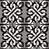 Greek floral striped black and white vector seamless pattern. Or. Namental abstract geometric background. Repeat arabesque backdrop. Monochrome isolated design royalty free illustration