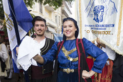 Greek folklore group. THESSALONIKI, GREECE - OCT 14:Greek folklore dancers - street parade during the event of celebrating 100 years since the liberation of Stock Photos