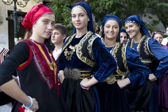 Greek folklore group. THESSALONIKI, GREECE - OCT 14:Greek folklore dancers - street parade during the event of celebrating 100 years since the liberation of Stock Photo