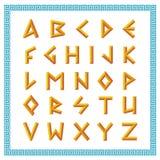 Greek font. Golden bevel stick style letters. Gold sticks retro ABC royalty free illustration
