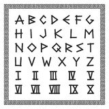 Greek font. Vector english alphabet. Ancient latin letters with numerals. Stock Photos