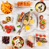 Greek food background. Traditional different greek dishes , top view. stock image