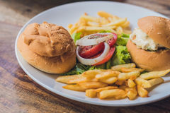 Greek food concept. Bun with chicken salad, french fries stock image