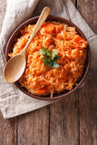 Greek food lahanorizo rice with cabbage in a bowl. vertical top Stock Photo