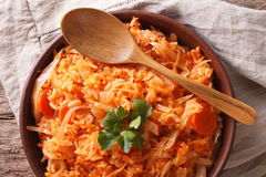 Greek food lahanorizo rice with cabbage close up. horizontal top Stock Images