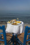 Greek food. Outdoors and the sea stock photos