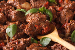 Greek food: stifado beef macro. Horizontal Royalty Free Stock Photo