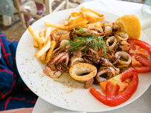 Greek food. Traditional Greek food in the Ionian sea royalty free stock photo