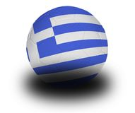 Greek Football. Football (soccer ball) covered with the Greek flag with shadow on a white background.  Clipping path included Stock Photo