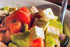 Greek Fresh vegetable salad with white feta cheese Royalty Free Stock Photography