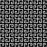 Greek Fret Meander Squares Seamless Pattern. Black and white greek key fret meander mosaic geometric pattern. Squares seamless tile Stock Photo