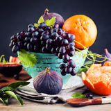 Greek Fruit Assortment with Grape, Orange and Figs Royalty Free Stock Photos