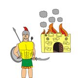 Greek at the gates of Troy. My illustration of a Greek soldier in front of the burning city of Troy Royalty Free Stock Images