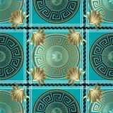 Greek geometric check seamless pattern. Vector meander backgroun. D. 3d wallpaper with greek key ornament. Abstract surface pattern with circle, stripes, borders Royalty Free Stock Photography