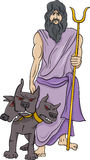 Greek god hades cartoon illustration Royalty Free Stock Images