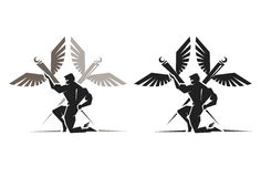 Greek God Hermes. Illustration of the Greek God Hermes with wings on his ankles Royalty Free Stock Photography