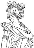 Greek God in line style. Great template for coloring book page. Classicism. Ancient Greece. Myths and legends. Black and white vector artwork isolated Royalty Free Stock Photos