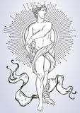 Greek God, the mythological hero of ancient Greece. Hand-drawn beautiful vector artwork . Classicism. Myths and legends. T royalty free illustration