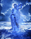 Greek god Poseidon. The mythological Greek god Poseidon rising from a stormy rough ocean Royalty Free Stock Image