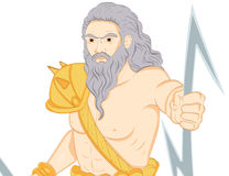 Greek god Zeus. A Illustration drawing of the Greek God Zeus holding his signature lightning bolts Stock Photography