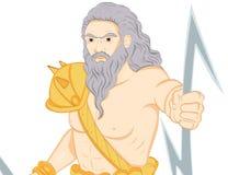 Greek god Zeus. A Illustration drawing of the Greek God Zeus holding his signature lightning bolts vector illustration
