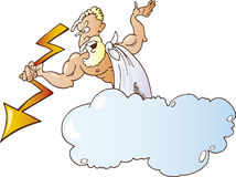 Greek god Zeus. Angry Greek god Zeus with lighting on cloud Royalty Free Stock Photo