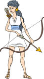 Greek goddess artemis cartoon Royalty Free Stock Photo