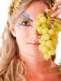 Greek goddess with grapes Royalty Free Stock Photography