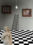 Greek goddess. Statue in living room. Artworks on the wall. Ladder stock photography