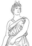 Greek Goddess in line style. Great template for coloring book page. Classicism. Ancient Greece. Myths and legends. Black and white vector artwork isolated Stock Photos