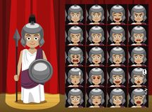 Greek Gods Athenna Costume Cartoon Emotion faces Vector Illustration Stock Photography