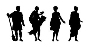 Greek gods and heroes silhouettes set Stock Images