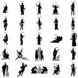 Greek gods silhouette set. On white background Stock Photography
