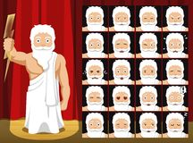 Greek Gods Zeus Costume Cartoon Emotion faces Vector Illustration Royalty Free Stock Photography