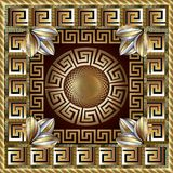 Greek gold 3d square panel pattern. Modern vector background. Me. Ander ornamental frame. Greek key maze border, circle, flowers. Fractal round line art greek Royalty Free Stock Photos