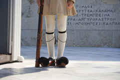Greek guard. In traditional historical uniform standing to attention before the Greek Parliament, Athens, Greece Stock Photos