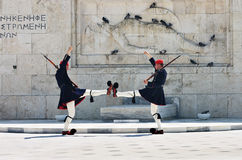 Greek guards in Athens Stock Images
