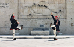 Greek guards in Athens Royalty Free Stock Photo