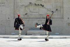 Greek guards (evzones) in Athens, Greece Royalty Free Stock Photos