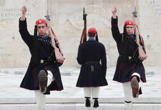Greek guards at parliament Stock Images