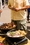 Greek gyro. Cooking Greek gyros at the Farmers Market Royalty Free Stock Image