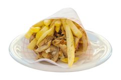 Greek gyro with fries close up isolated royalty free stock photo